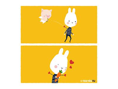 TeeyouTu - Perfect Match Dribbble cupid funny bunny comic cute chow hon lam illustration lovers teeyoutu love