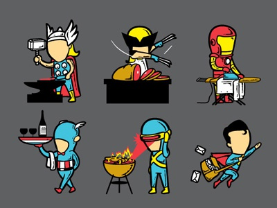 Part Time Job chow hon lam flying mouse flying mouse 365 art design tee t-shirt illustration witty funny cute lol wolverine x men xmen thor marvel avenger iron man captain america superman dc comic pop culture superheroes