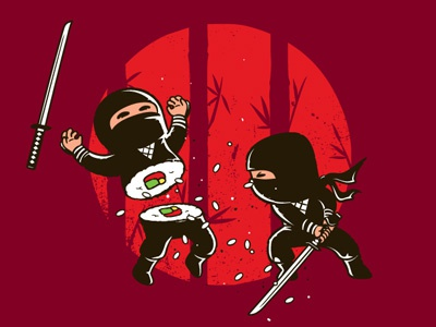 Sushi Victory chow hon lam flying mouse flying mouse 365 art design tee t-shirt character design illustration witty funny cute lol ninja samurai fighting comic sushi japan japanese food sword victory