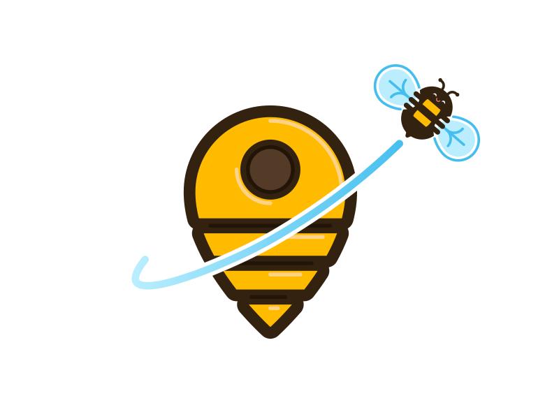 Bee Hive minimal bee logo illustrator