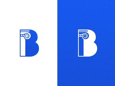 Do you B-lieve in life after love? logo architecture column letter vector blue education school icon iconography branding b