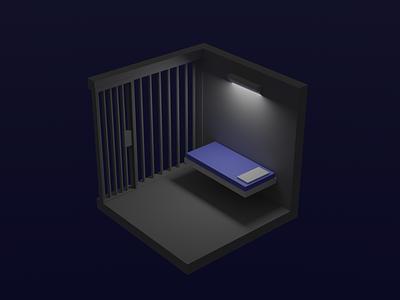 Cell cell prison room isometric model 3d blender