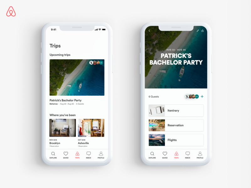 Airbnb Group Trips ux ui travel app group booking airbnb product design