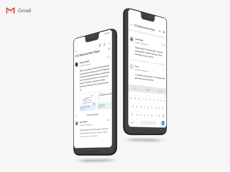 Gmail Material Design 2.0 Update (Message Detail) ux ui product design pixel 3 material design 2 android email redesign update gmail google