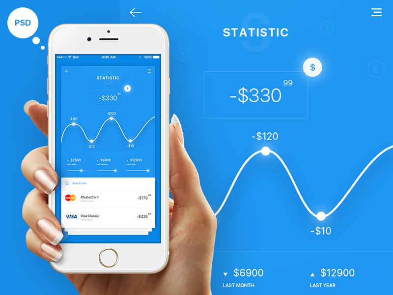 FREE Statistics App (PSD) concept ios web flat ux vector ui design app psd free statistics