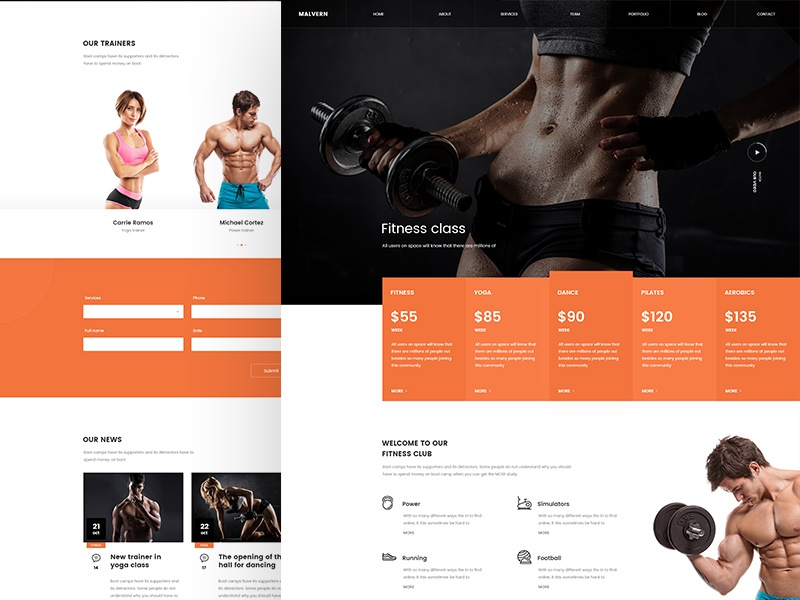 Fitness club website fitness