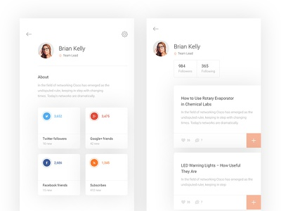 Profile in social app app social