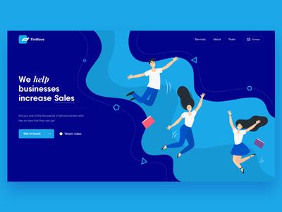 FinWave landing WIP design logo illustration website
