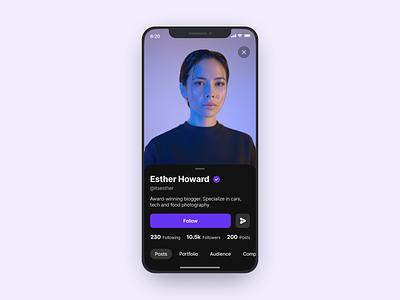 User profile clean minimal dark ui user profile profile iphone figma mobile ios ux app ui