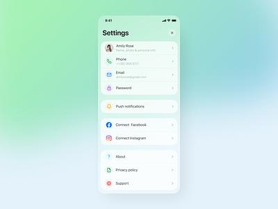 Settings 007 gradient settings dailyui figma ios mobile ux app ui