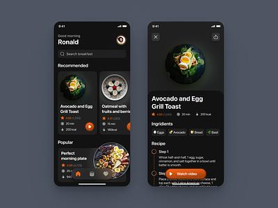 Food Recipe App clean dark ui design iphone mobile figma ios app ux ui