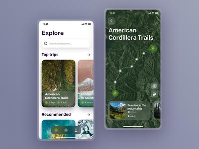 Travel App travel app travel ux app ios clean figma mobile design ui glassmorphism minimal trip