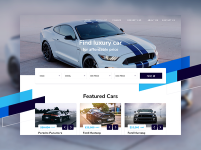 Car Dealer Landing Page & Website sketch homepage hero header desktop ux ui responsive website car landing