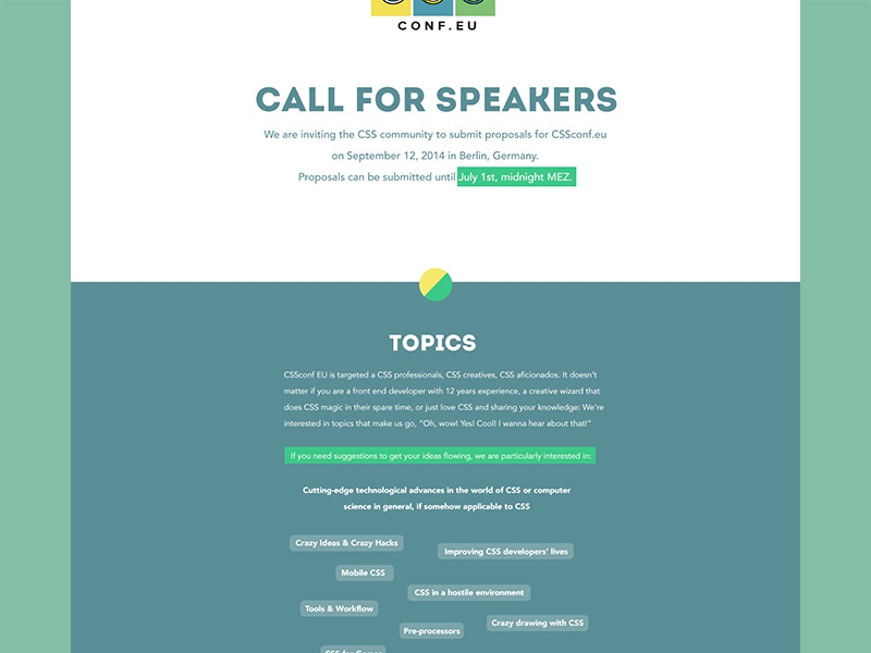 CSSconf2014 - Call For Speakers cssconf website layout webdesign