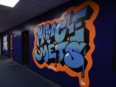 """Miracle Mets"" Graffiti-Style Vinyl Mural environment design environmental hand drawn graffiti style graffiti art illustration design baseball mets"