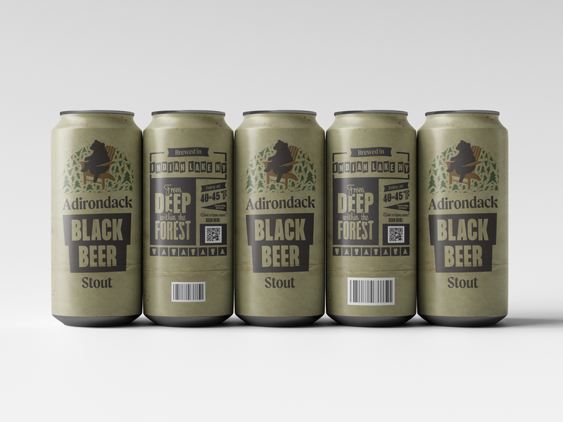 Adirondack Black Beer Stout branding upstate new york upstate package design packagingdesign packaging beer beer label beer can