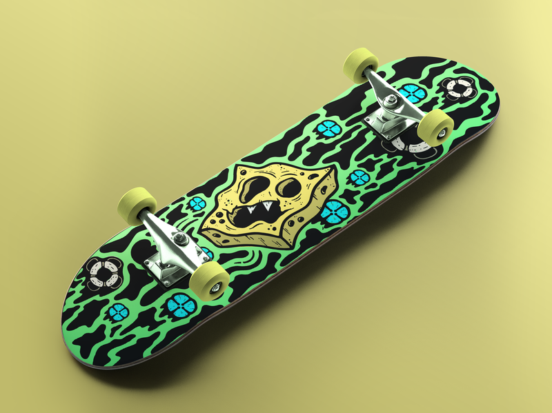 Surreal Spongebob Skateboard Deck skateboard graphics skateboards fan art design illustration surreal cartoon spongebob skateboard skate