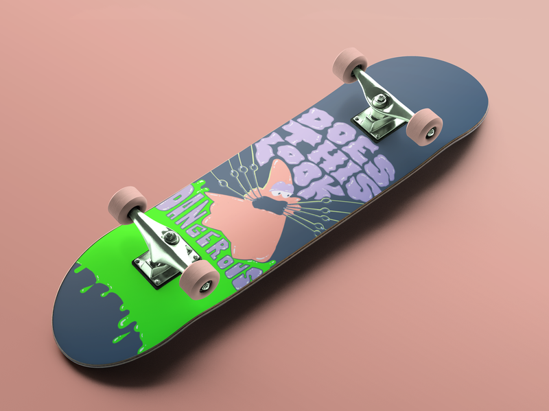 Patrick Skateboard Deck photoshop procreate illustration ipad danger nostalgia mockup spongebob patrick star skateboarding skateboard skate