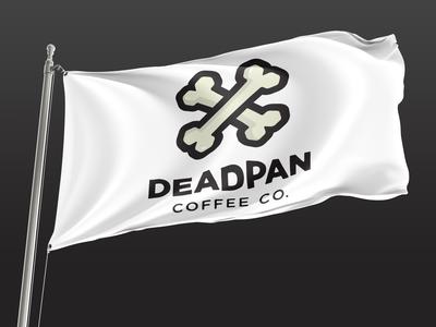 Deadpan Coffee Flag vector design bones coffee branding flag