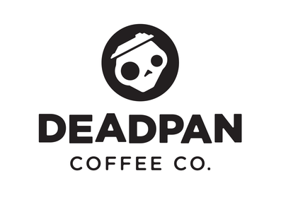 Deadpan Coffee Logo branding and identity skull bw logo black and white simple logo coffee branding design branding