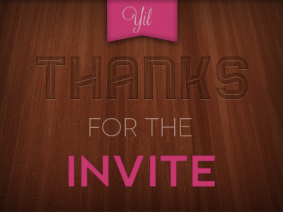 Thanks for the invite, Yil! thanks dribbble bender inline lavanderia nevis novecento wide