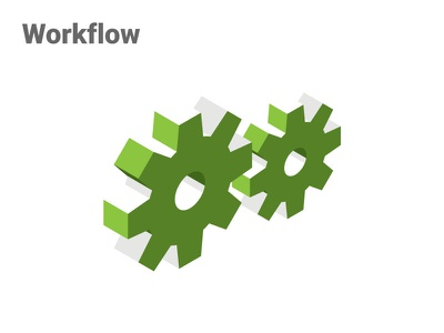Workflow | OrderForge commerce ecommerce forge order icon isometric gears workflow