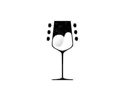 Wine Bar & Music stippling music alcohol grainy illustration guitar wine