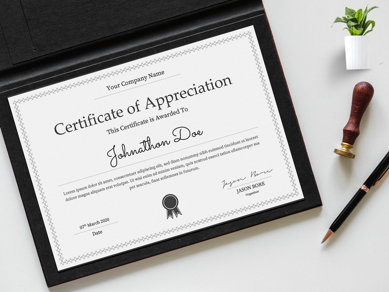 Certificate Template Design || Microsoft Word Certificate V2 paper deploma decorative character ornament achievement graduation education doc docx word print pdf excellence elegant certificate template download design creative