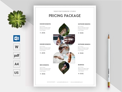 Photography Pricing Guide Template || Microsoft Word Docx pricing plan business clean word template minimal design printable editable us letter a4 paper docx photography pricing pricing package