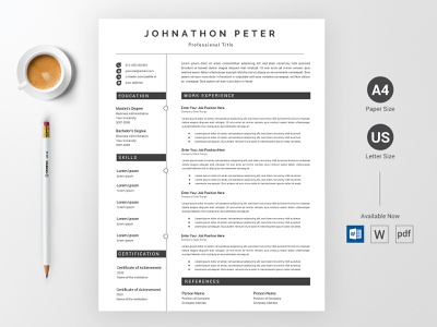 CV/Resume Concept Design || CV/Resume Word Docx Template V2 cv modern cv resume download portfolio cv template resume template cv resume template cv template word minimal cv resume design corporate creative