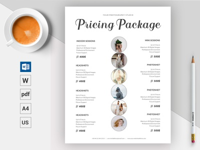 Photography Pricing Package Template || Microsoft Word Docx minimal design docx pricing list microsoft word photography pricing photography pricing package pricing guide pricing plan modern download corporate creative