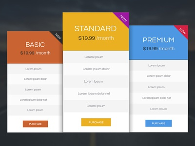 Pricing Table Design