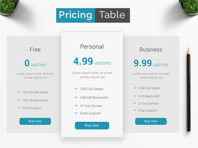 Pricing Table | Pricing Comparison | Pricing Chart Download