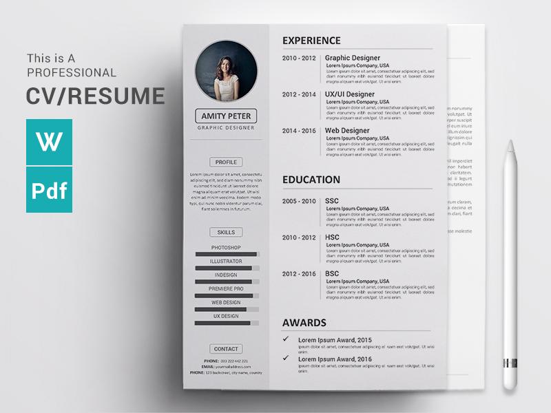 Cv Resume Concept Design Cv Resume Word Docx Download By