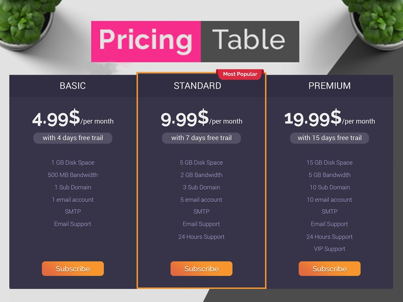 Pricing Table | Pricing Chart | Pricing Package Download