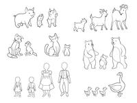 Line illustration of animals