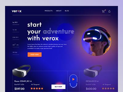 VEROX - VR Shop graphic design motion graphics logo responsive design webdesign design landingpage ecommerce online shop vr product virtual reality vr