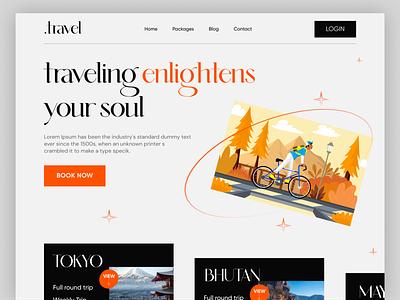 Travel agency website header travelling branding product design design landingpage header design webdesign world tour tourism travel agency travel