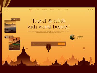Travel Agency header design logo branding ux uiux product design design landingpage webdesign responsive header world tour journey tourism travel agency travel