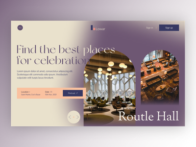 Hall booking Website product design ui header design webdesign bookingsite website party hotel ticket bokking hall booking