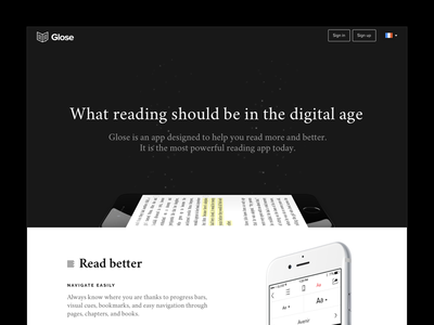 Glose Features landing page black and white landing page app ui features