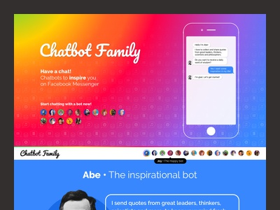 Chatbot Family quote responsive colored site web bot chat