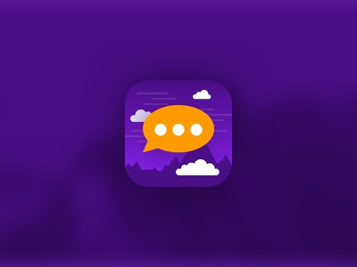 ChatStories Icon zeppelin mountains icon app reading purple smartphone stories chat