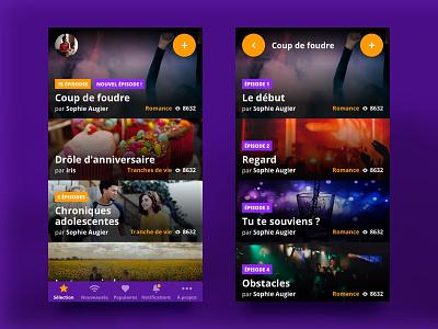 Chatstories •Stories list ui stories smartphone reading purple chat app