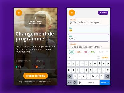 ChatTyper ui stories smartphone reading purple chat app