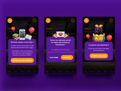 Chatstories • Notifications ui stories smartphone reading purple chat app