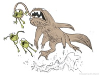 Beaverfish attacks some frogs