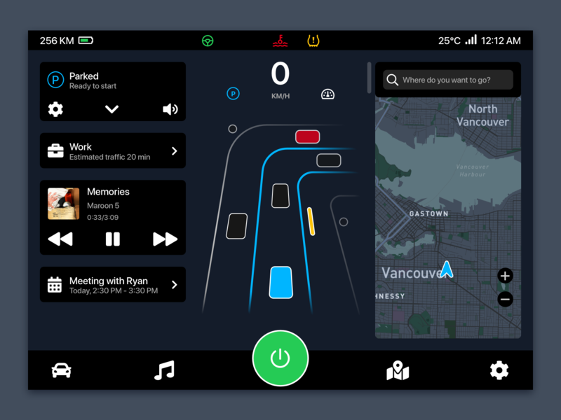 Self-Driving Car Dashboard Landing vehicle car hmi autopilot self-driving