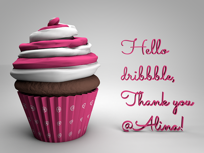 Hello Dribbble debut cake cupcake 3d c4d hello invite dribbble