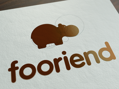 fooriend branding brand mockup paper animal brown circle hippo logo fooriend